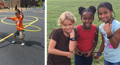 Kids get physically active with fitness trackers on their school playground