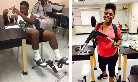 Students use pedal machines during science class