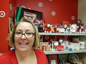 Head-and-shoulders shot of Sondra in front of her shelf full of Target gear