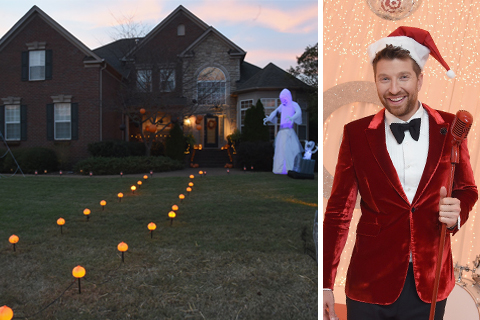 The exterior of a home decorated for Halloween, and Brett Eldredge in a Santa hat