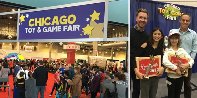 Guests enjoy the Toy Fair and the Young Inventor Challenge winners pose with their game.