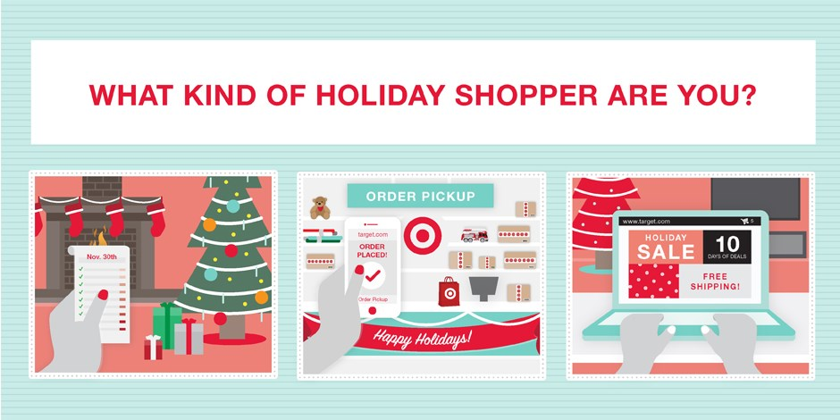 Illustrations of three holiday scenes: a wish list, order pick up and Target.com