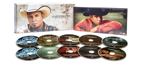 The cover of the Garth Brooks box set, with 10 discs