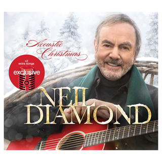 Neil Diamond holds a red guitar on the cover of his Christmas album