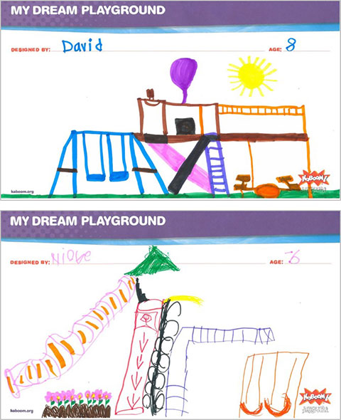 Two playground drawings by 8-year-old David and 6-year-old Nicole.