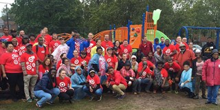 Team members at the Washington DC KaBOOM! playground build