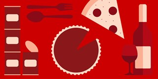 Pizza, pie, cans, wine and a fork and spoon on a red background