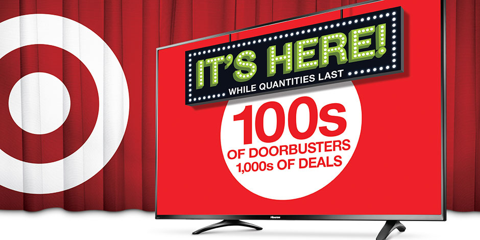 A white bullseye on red curtain with TV and text, It's Here While Quantities Last