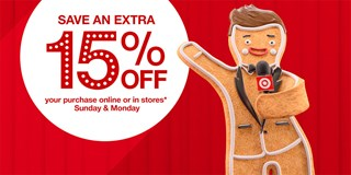 Graphic with Ginger Breadington pointing to copy that reads 15% off
