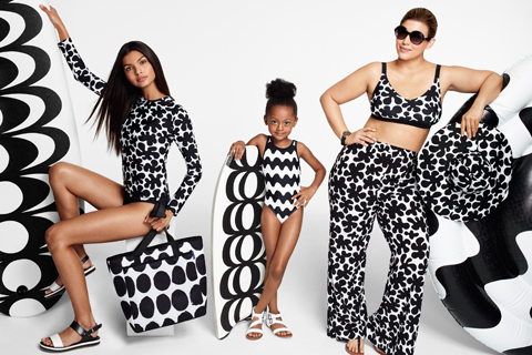 Three models wear bold, black and white patterned Marimekko designs.