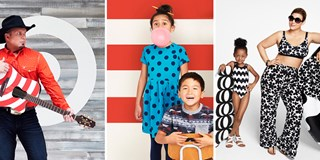 Photos of Garth Brooks, two kids wearing Cat & Jack, and two models wearing Marimekko