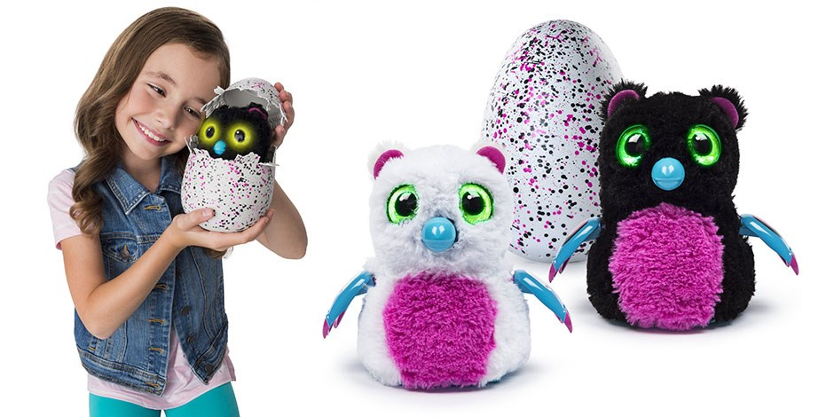 Left: A girl holds her Hatchimal; Right: Two Target-exclusive Bearakeets in front of a Hatchimal egg