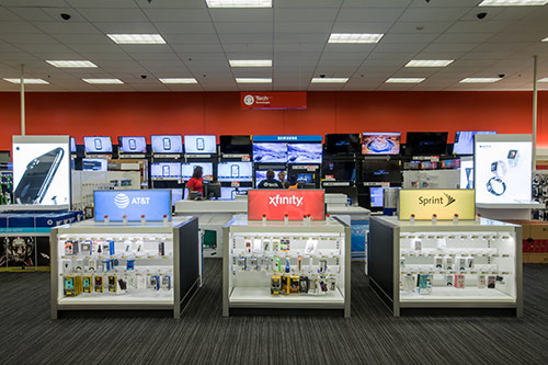 The Electronics area with tech products on display