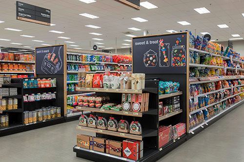 The Grocery aisles with sweet treats on display