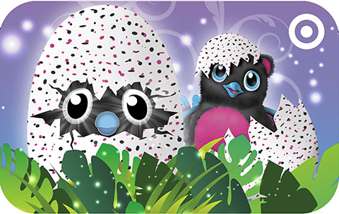 A Target Hatchimals-themed GiftCard with purple background and two black Bearakeets hatching from eggs