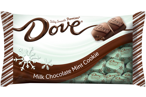 A minty green bag of Dove chocolates