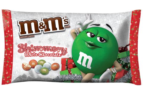 A bag of shimmery white chocolate featuring the green M&M on the cover