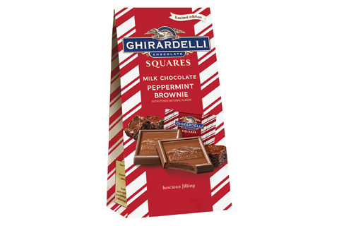 A red and white bag of Ghirardelli brownie treats
