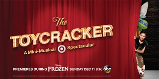 Characters peek around a red curtain emblazoned with a Toycracker marquee.