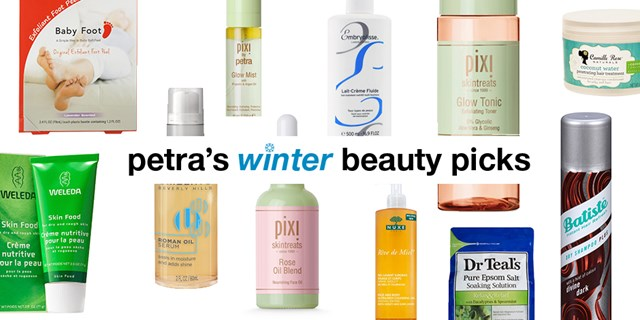 Petra's Winter Beauty Picks with an assortment of beauty products