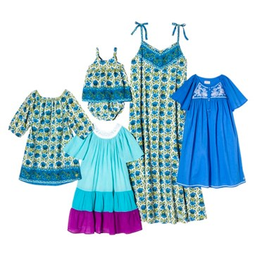 Blue and green floral collage of womens and childrens clothes
