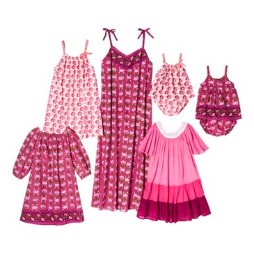 Pink floral collage of womens and childrens clothes