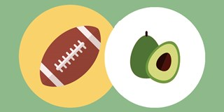 A graphic illustration of a football and an avocado