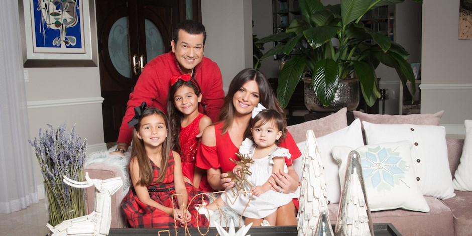 Barbara Bermudo and her family in their holiday card portrait