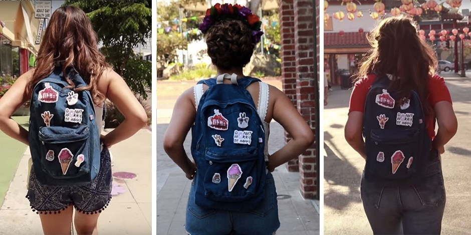 Trio of images of Bethany Mota walking with her back to school backpack on