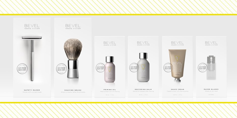 Variety of Bevel products with yellow striped border