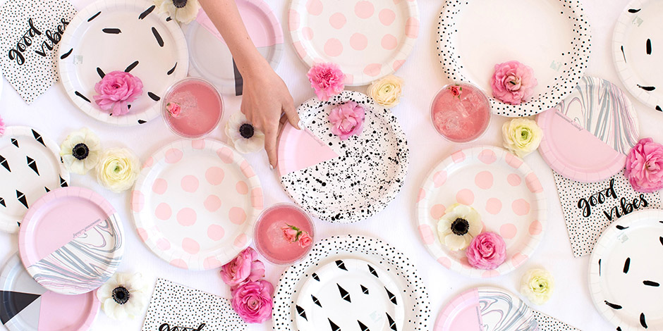 hand reaching for different patterned paper plates one a table with flowers napkins and  sc 1 st  Target Corporate & Bri Emery of DESIGNLOVEFEST Dishes on New Cheeky Tableware at Target ...