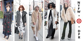 A montage of 5 fashion personalities posing outside the shows during New York Fashion Week