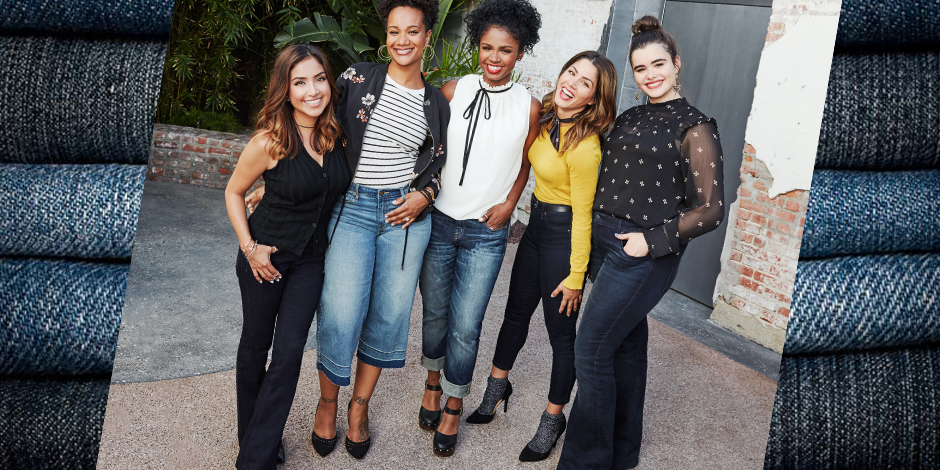 The five influencers wearing Target denim posing together
