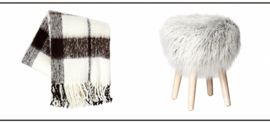 Graphic image of a blanket and furry stool