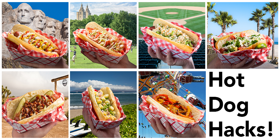 Seven photos of fully loaded hot dogs being held up in front of various backgrounds