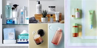 Collage of Target beauty products in various lifestyle settings