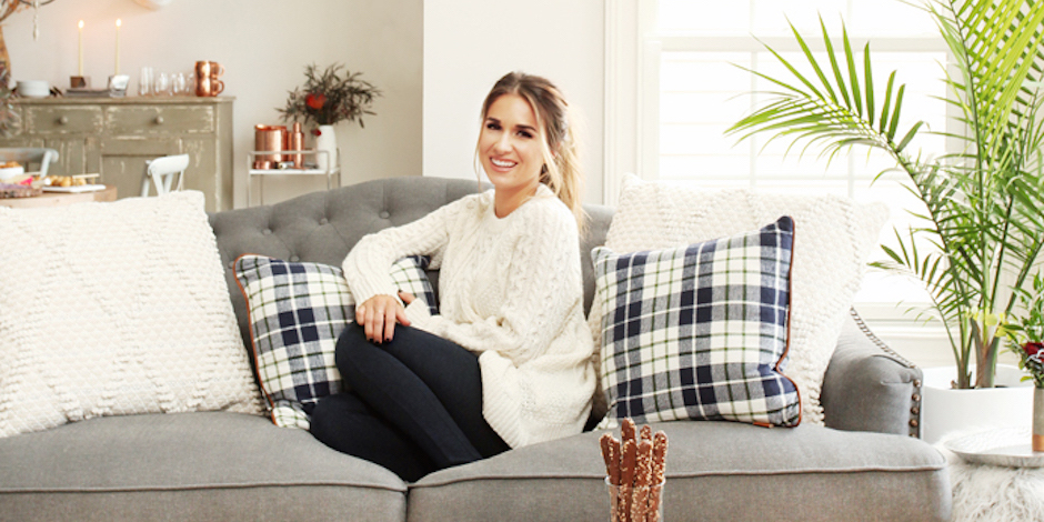 Jessie James Decker at home on the couch with Target decor items