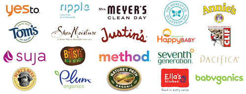 yes to, ripple, Mrs. Meyer's, The Honest Company, Annie's, Tom's, Shea Moisture, Justin's, Happy Baby, CLIF, Suja, Bitsy's Brainfood, method, seventh generation, pacifica, Burt's Bees, Plum organics, Nature's Path Organic, Ella's Kitchen and Babyganics logos