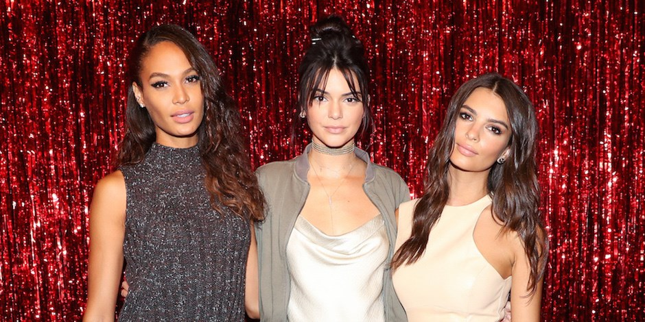 Models Joan Smalls, Kendall Jenner and Emily Ratajkowski at the Target Red's launch party