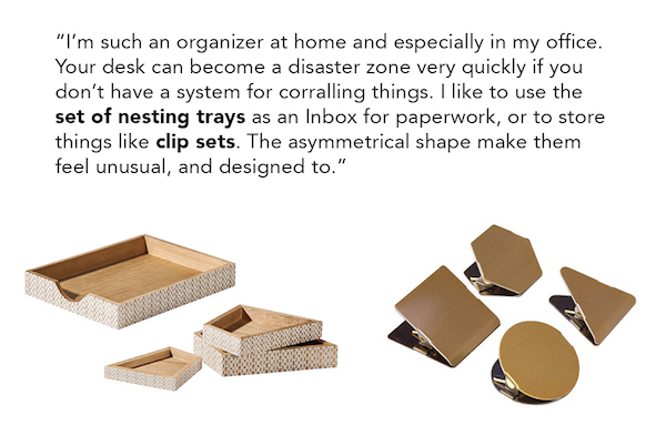 Nate Berkus quote on top of gold nesting trays and gold clip sets
