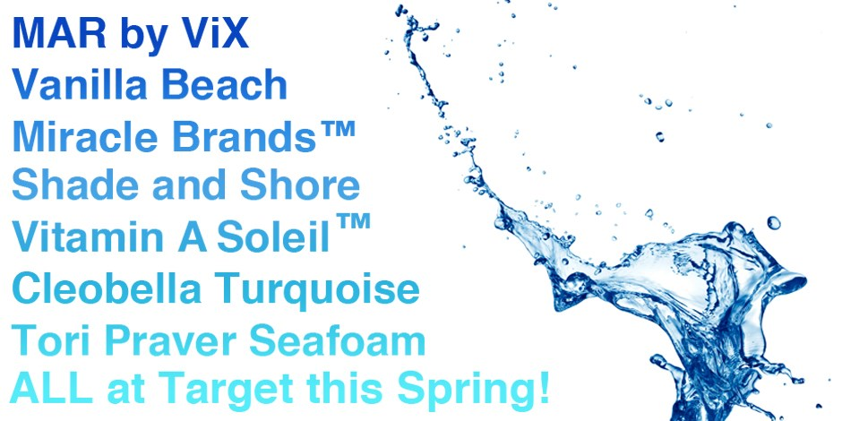 New swim brands available at target in blue next to blue splash of water