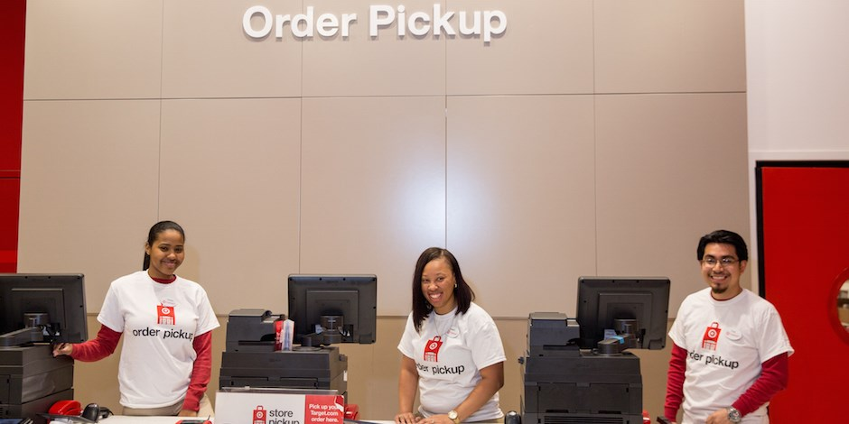 Target employees at the order pickup counter