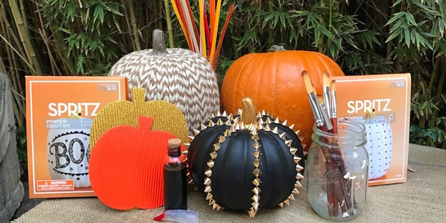 Spritz pumpkin decorating kits and decorated pumpkins from Target
