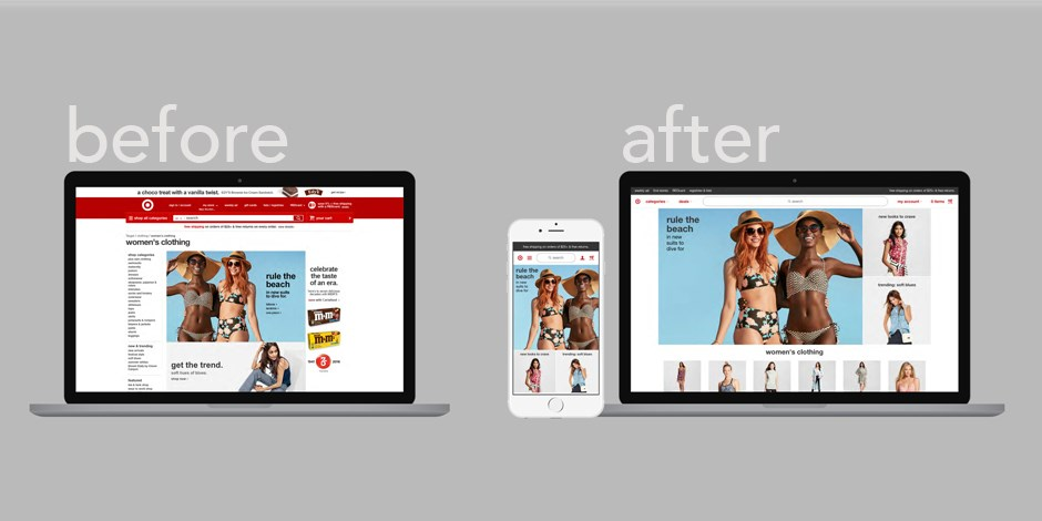 New Target.com adaptive website before and after