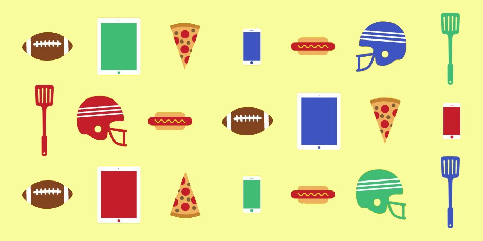 Graphic collage of football tailgate items