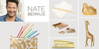 Nate Berkus and a collage of his office supply tools
