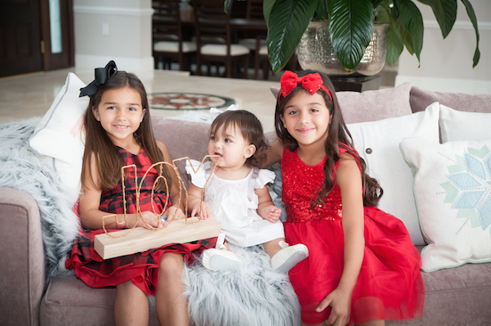 Barbara Bermudo's three daughters in their holiday portrait
