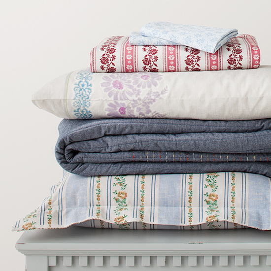 Stack of linens from the new Beekman 1802 collection