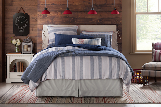 Bedding and rustic furnishings from the collection