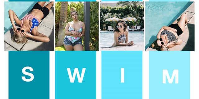 Four fashion bloggers posing in various swim suit styles on top of teal colored stripes